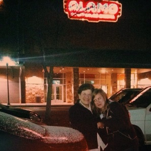 The least packed Alamo Drafthouse I've ever been to. It was freezing, but I had to get Caleb to snap this picture of Mawmaw and me while we were there.