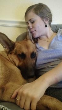 Dog snuggles.